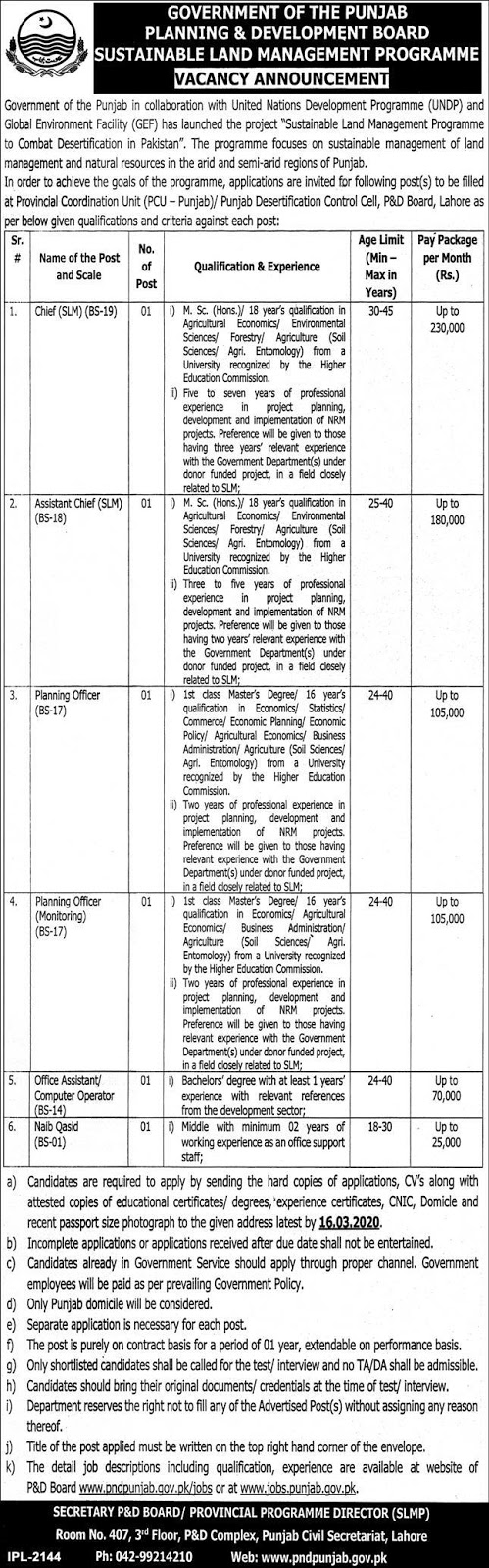 Jobs in Planning and Development Board Govt of Punjab 2020