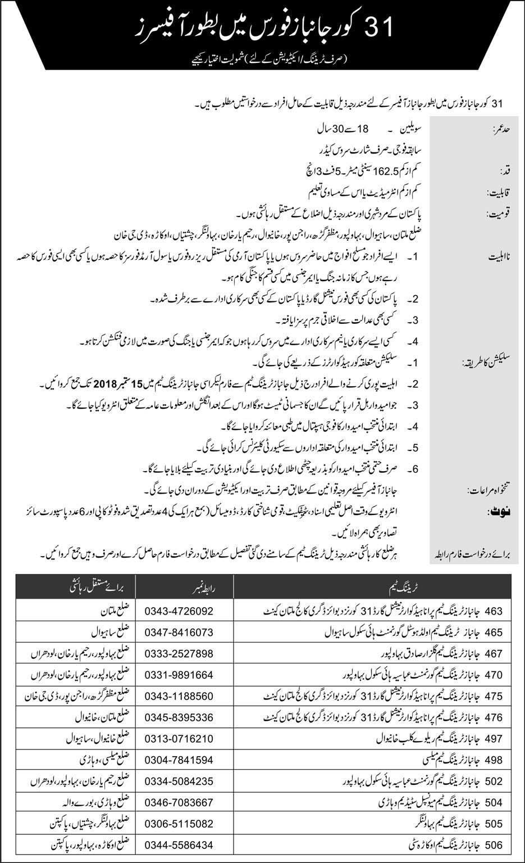Janbaz Force Officer Jobs 2018  | Pakistan Army | September