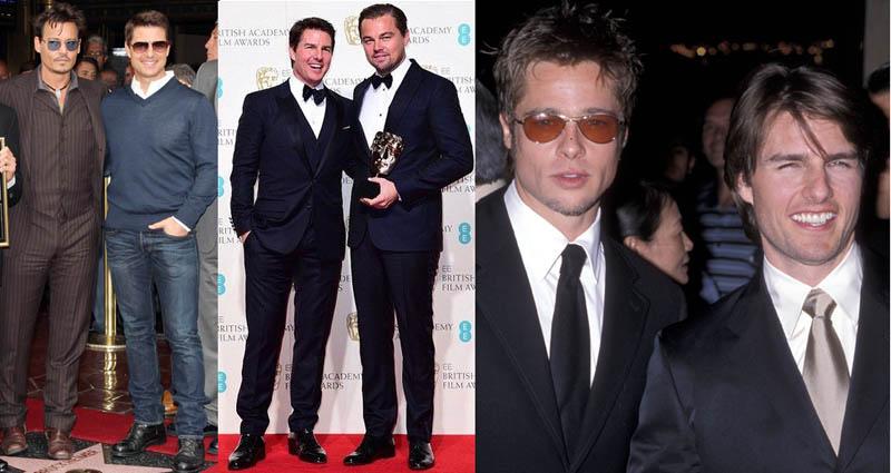 Tom Cruise with Johnny Depp, Leonardo Dicapiro and Brad Pitt