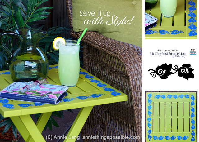 Annie Lang shares creative ideas to create a vinyl leaf border for a table tray using a silhouette portrait
