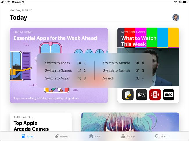 اختصار لوحة مفاتيح أوامر App Store المنبثقة على iPad