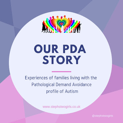 Pink and purple logo image with words our PDA story, experiences of families living with the Pathological Demand Avoidance profile of Autism