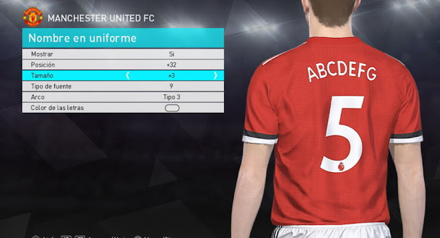 PES 2018 Premier League Font/Numbers