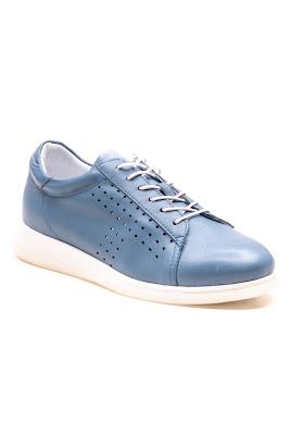 bağcıklı mavi renk bayan ayakkabı