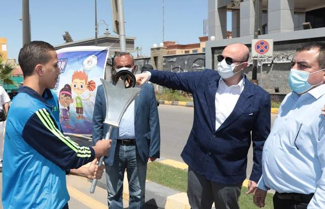 """تحت رعاية الرئيس السيسي :  محافظ بني سويف يطلق شعلة أولمبياد الطفل المصرى """"للألعاب الجماعية والفردية """" في نسخته الثالثة 2021"""