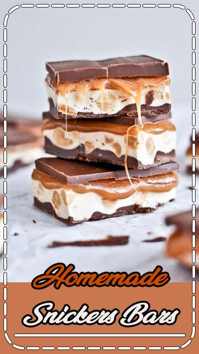 Homemade Snickers Bars makes one 9×13 pan bottom chocolate layer 1 1/4 cups milk chocolate chips 1/4 cup peanut butter Thoroughly grease you baking pan. Melt ingredients together in a saucepan or microwave, then pour into the baking dish and spread until even. Let cool and harden completely.