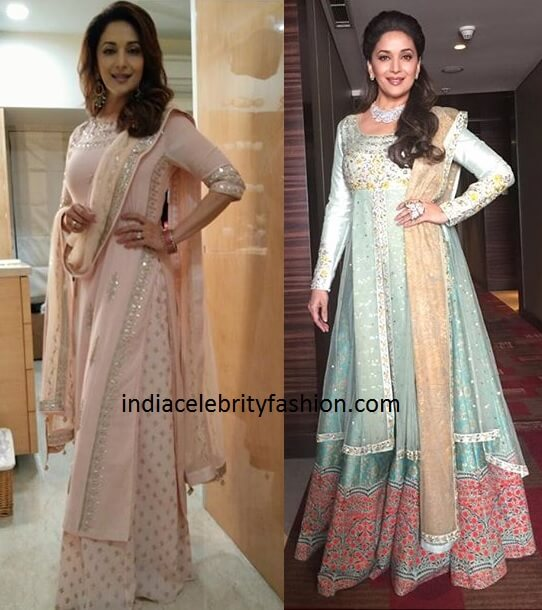 Madhuri Dixit's Two Recent Looks in Anita Dongre and Anju Modi