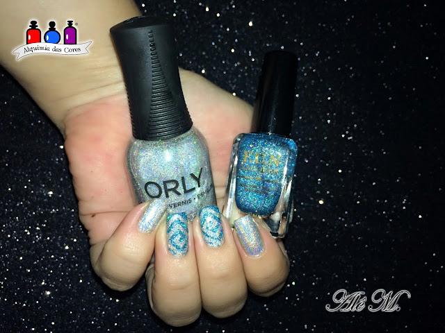Orly, Mirrorball, FUN Lacquer, Daydreamer, Modern Arts, Nail Stamp, Glitter, Prata, Turquesa, Alê M