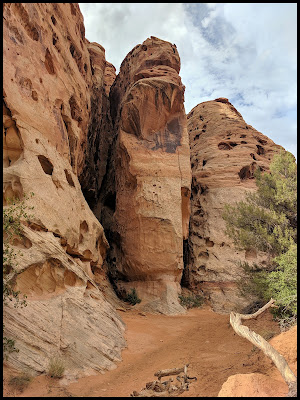 All over this canyon are tiny nooks and narrow slots that inside have ledges up higher.  They used these areas to hide in the early settlement days.