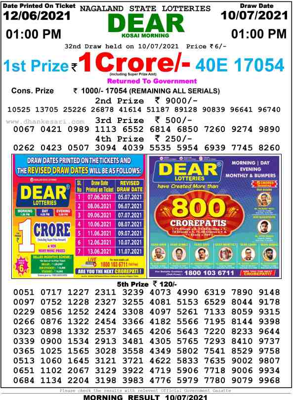 lottery sambad 10.9.2021 lottery result