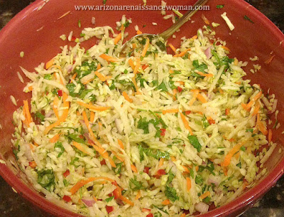 Jicama-Cabbage Slaw for Buttermilk-Marinated Calamari Tacos with Jicama-Cabbage Slaw and Chipotle-Honey Aioli