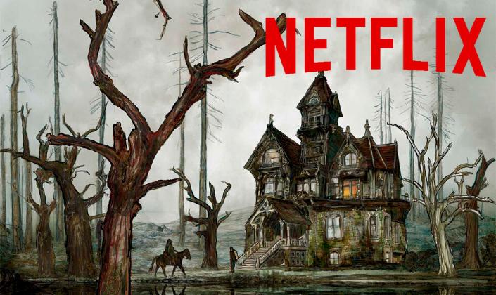 Imagem de capa: ilustração com a Casa de Usher, uma mansão gótica no meio de um pântano com inúmeras árvores mortas ao redor e uma figura em um cavalo em direção à casa e o logo vermelho da Netflix acima.