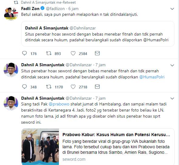 seword Sebar Hoax Prabowo Kabur ke Brunei