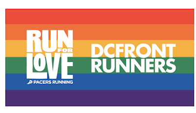 screenshot of a rainbow flag with the logos for Run for Love and the DC Frontrunners.