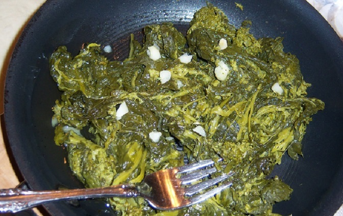 this is broccoli rabe sauteed with garlic
