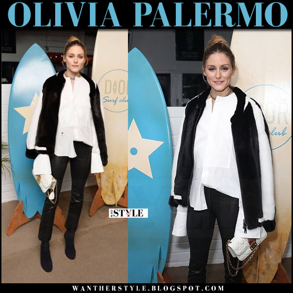 Olivia Palermo in black and white fur bomber jacket and leather pants paige carine what she wore may 10 2017