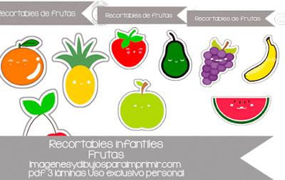 recortables de frutas