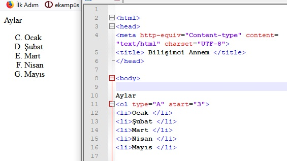 html liste oluşturma