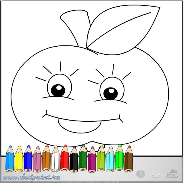 Детсадовская раскраска - Яблоко