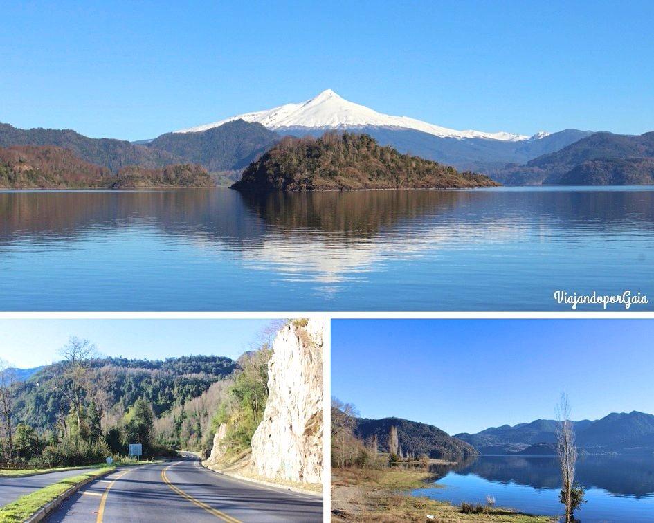 Camino a la Reserva Huilo Huilo por ruta 203 CH, bordeando el lago Panguipulli con vistas al volcán Mocho Choshuenco de 2.415 msnm.