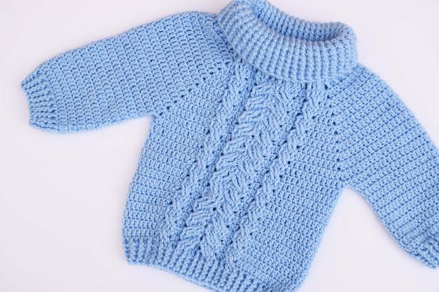 1-Crochet Imagen Jersey de espigas y ochos a crochet y ganchillo por Majovel Crochet