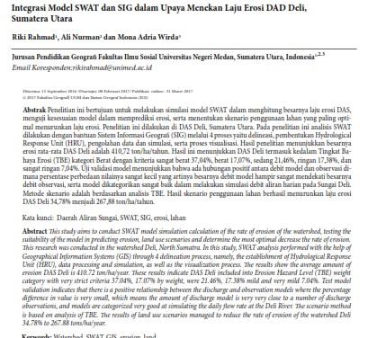Integrasi Model SWAT dan SIG dalam Upaya Menekan Laju Erosi [Paper]