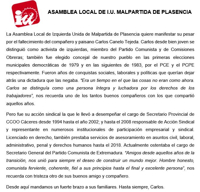 Fallece Carlos Canelo Tejeda
