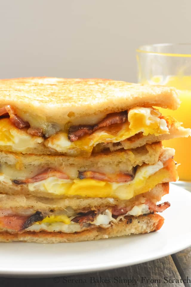 Bacon and Egg Grilled Cheese Breakfast Sandwich recipe is a favorite grab and go breakfast from Serena Bakes Simply From Scratch.