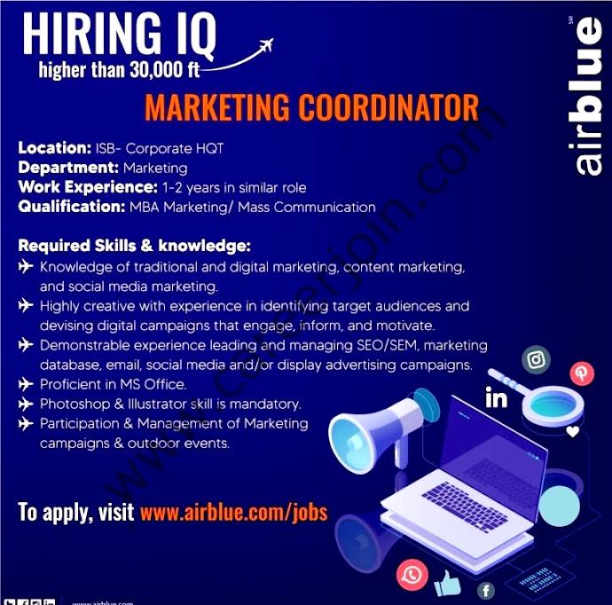 AirBlue Pakistan Latest Jobs For  Marketing Coordinator