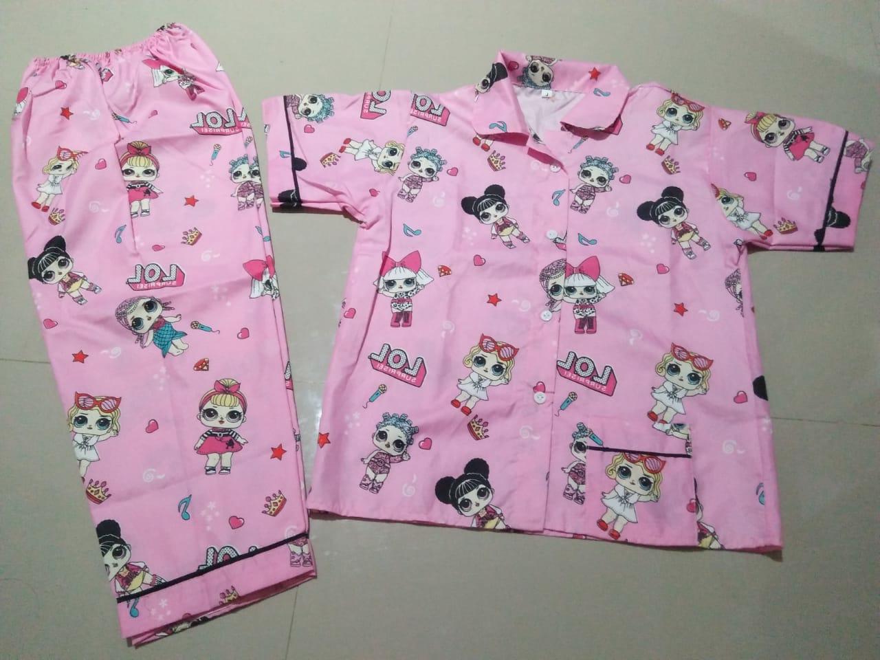 Piyama Anak Umur 8-9 Tahun Motif Lol Pink