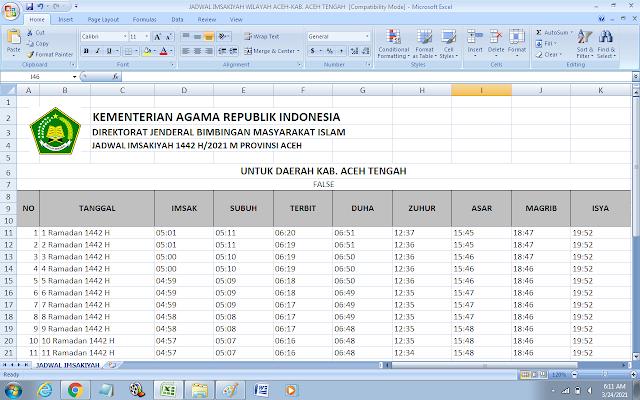 Jadwal Imsakiyah Ramadhan 1442 H Kabupaten Aceh Tengah, Provinsi Aceh