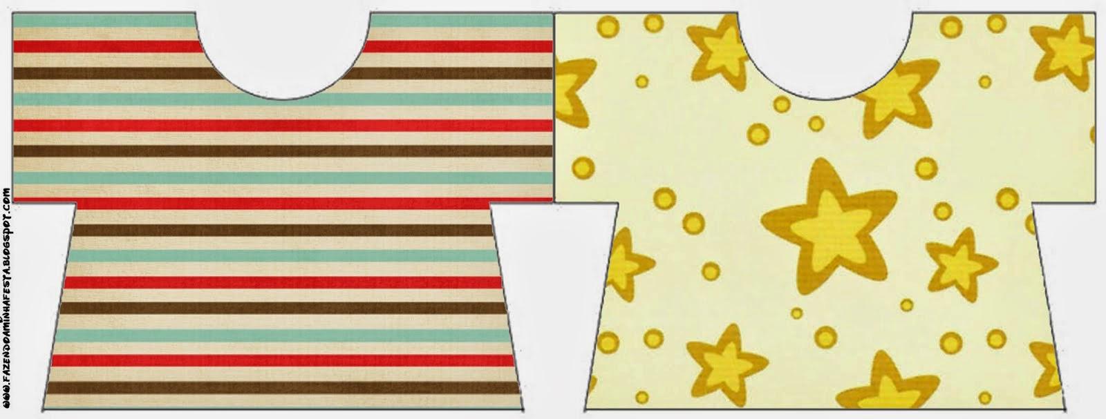 Tarjeta con forma de Camiseta de Estrellas Doradas y Rayas de Colores.
