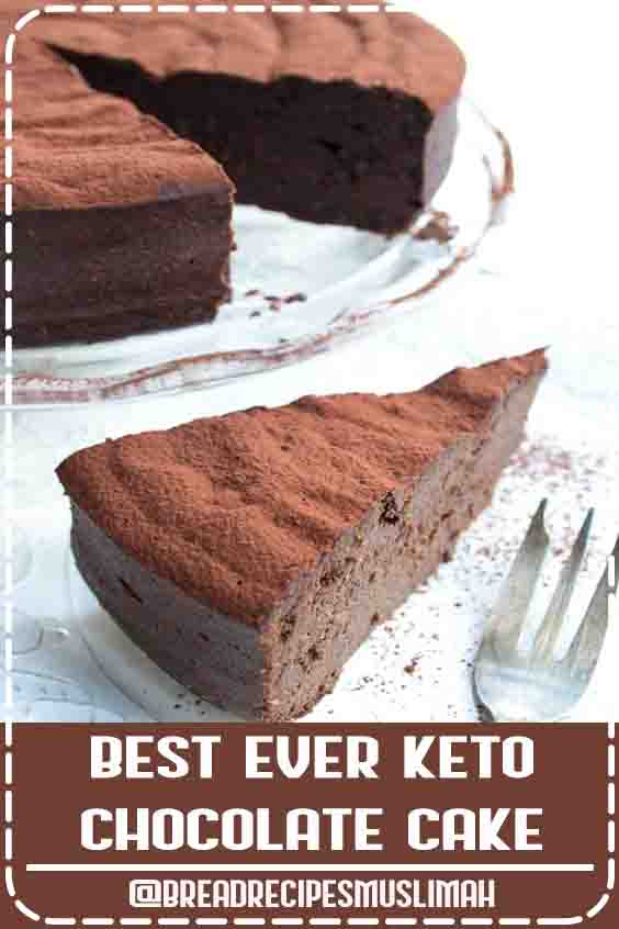 This easy 5 ingredient keto chocolate cake is to die for! It is incredibly moist, rich and chocolatey and comes in at only 2.5 net carbs per slice. The recipe is low carb, sugar free and gluten free. #chocolatecake #keto #lowcarb #sugarfree  #Bread #Recipes #easy #breakfast #best