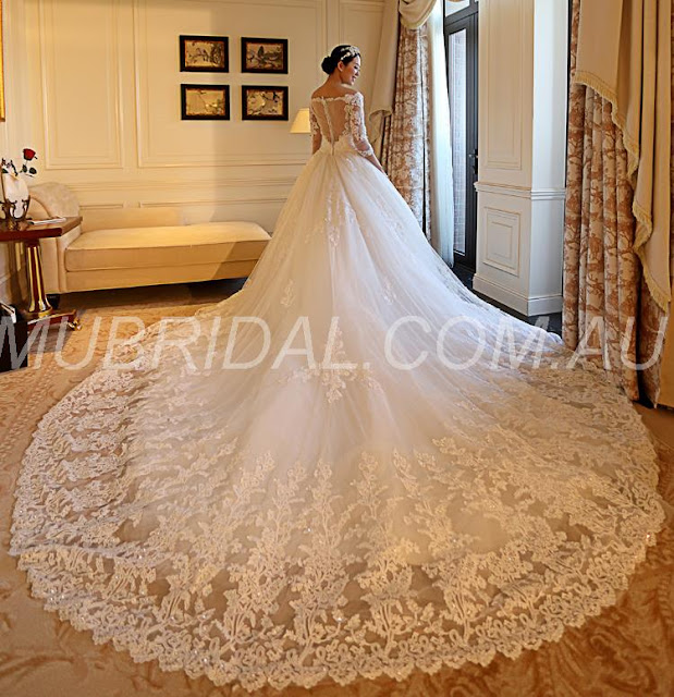Beading Summer Natural Appliques Garden/Outdoor Ball Gown Spring All Sizes Wedding Dress (130647970) http://www.mubridal.com.au/product/130647970.html