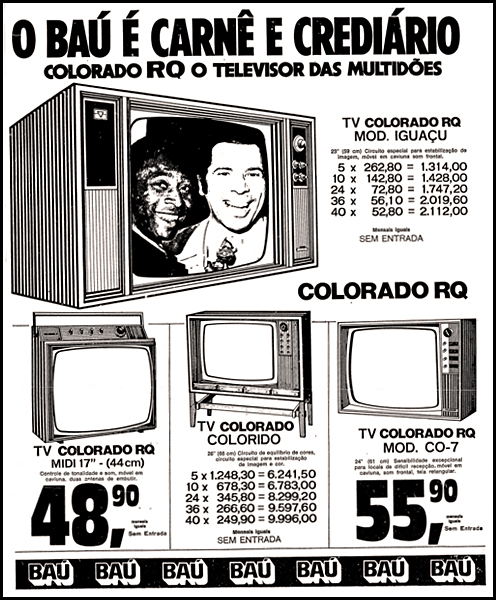 Propaganda antiga do Baú da Felicidade promovendo seu carnê nos anos 70