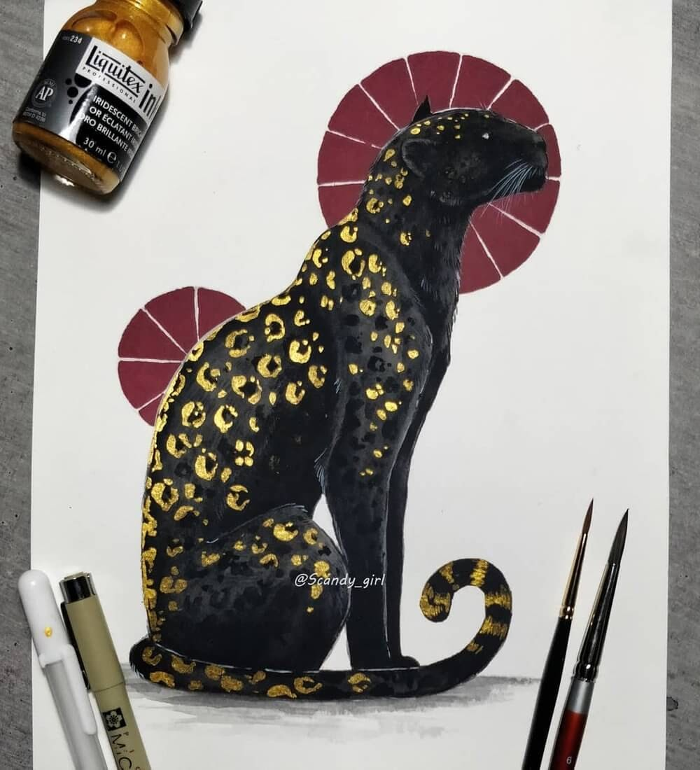 03-Black-Panther-Jonna-Hyttinen-Animals-Mixture-of-Drawings-and-Paintings-www-designstack-co