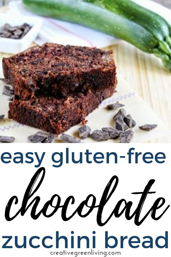 Get the recipe for the best chocolate gluten free zucchini bread! This chocolate zucchini bread recipe uses lots of zucchini and is easy to make. This healthy chocolate zucchini bread uses a 1:1 GF flour blend like Bobs Red Mill or Namaste. The chocolate chunks make it even better! #creativegreenliving #creativegreenkitchen #glutenfree #chocolatezucchinibread