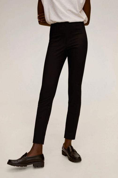 Mango - Pantaloni dama casual-eleganti negri cu banda elastica