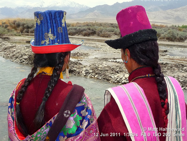 people, portrait, double portrait, back portrait, street portrait, Northern India, Ladakh, Ladakhi women, traditional costume, goncha, traditional Ladakhi hats, Facing the World, © Matt Hahnewald