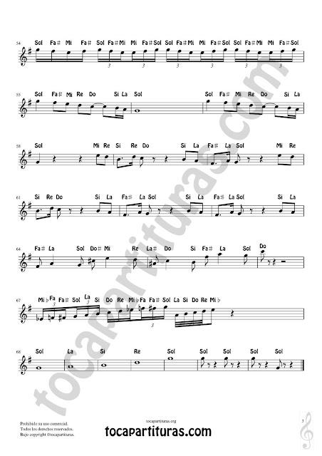 3 Partitura Fácil con Notas en Letras de Flautas, Violín, Saxofones, Clarinetes, Cornos, Trompetas... y instrumentos en Clave de Sol Spanish Notes Sheet Music for Treble Clef  Más Partituras PDF/MIDI con Notas aquí