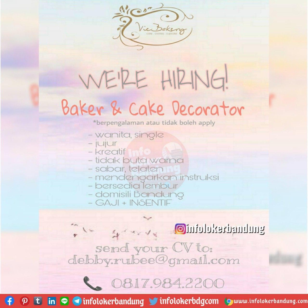 Lowongan Kerja Baker & Cake Decorator Vie Bakery Cake Bandung Juli 2020