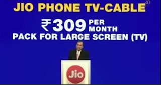 Jio 4G phone TV cable