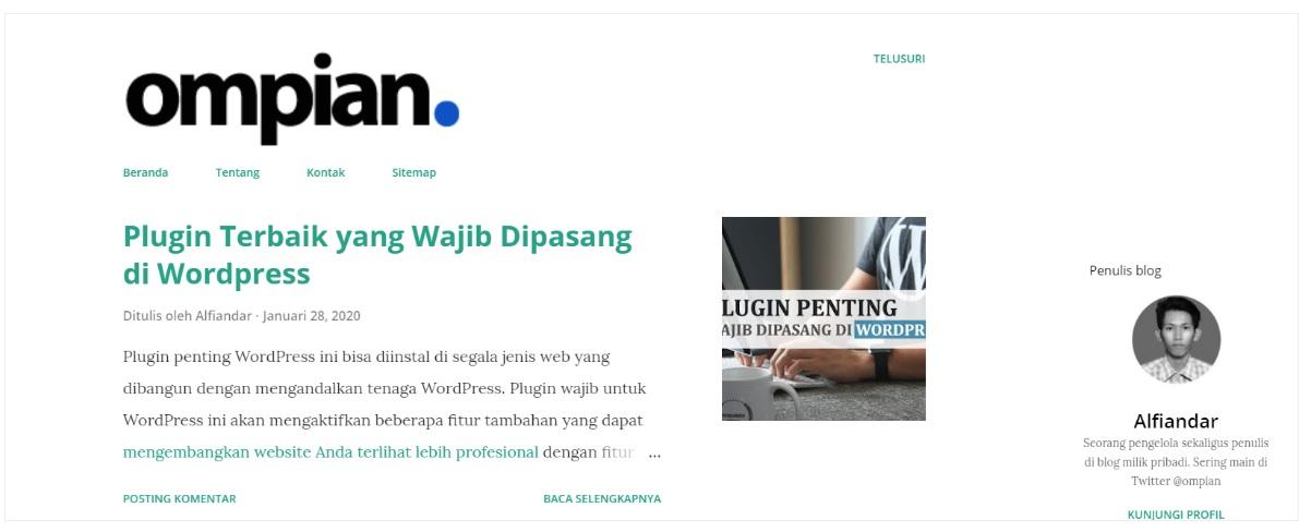 Template Bawaan Blogger Terkemuka