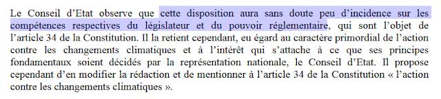 Avis du Conseil d'Etat sur l'inscription du climat dans la Constitution
