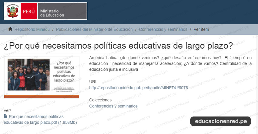 MINEDU: ¿Por qué necesitamos políticas educativas de largo plazo? (.PDF) www.minedu.gob.pe