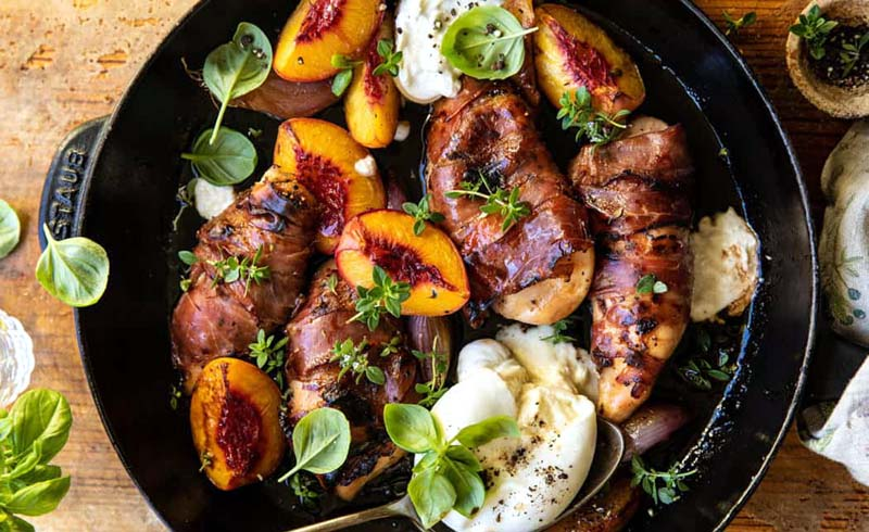 Prosciutto Balsamic Peach Chicken with Burrata and Basil