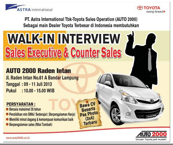 Lowongan Terbaru PT. Astra International Tbk (Auto 2000)