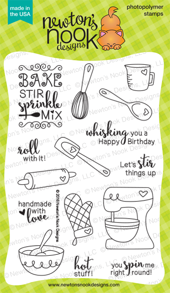 Made from Scratch Stamp Set | 4 x 6 Heart Baking Kitchen Stamp set | Newton's Nook Designs #newtonsnook