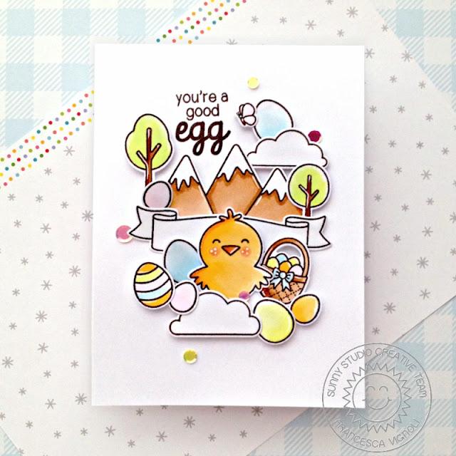 Sunny Studio Stamps: Spring Scenes Spring Showers Banner Basics A Good Egg Spring Themed Easter Card by Franci Vignoli