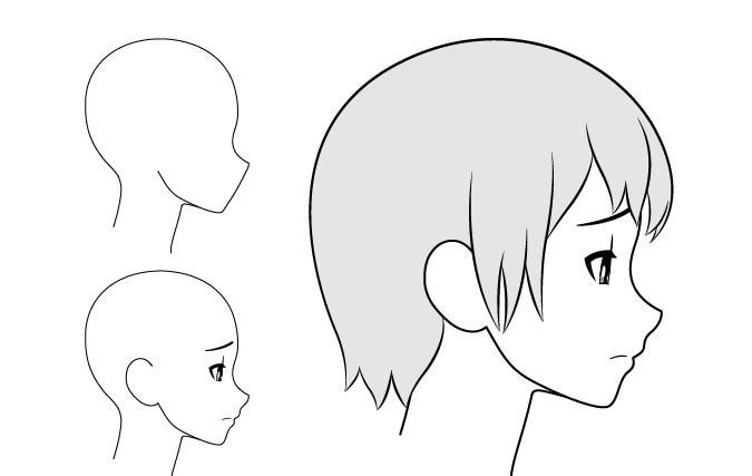 Gadis anime gambar tampilan samping kesal